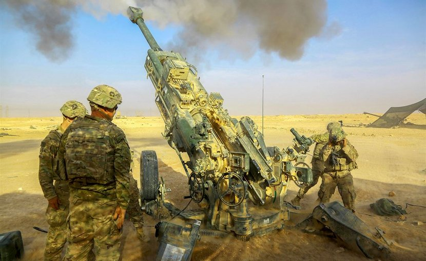 Soldiers fire an M777A2 howitzer while supporting Iraqi Security Forces near al-Qaim, Iraq, Nov. 7, 2017, as part of the effort to defeat the Islamic State of Iraq and Syria. Army photo by Spc. William Gibson