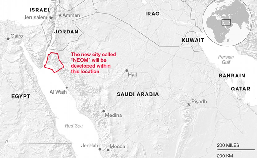 Map showing the proposed location of Neom, courtesy of discoverneom.com