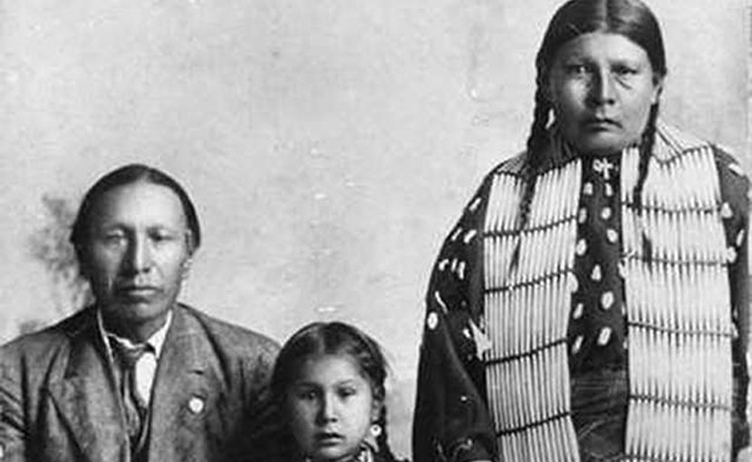 Black Elk, daughter Lucy Black Elk and wife Anna Brings White. Public Domain.