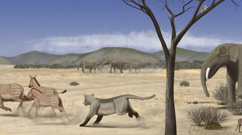 This is an image of an arid savanna during the middle Miocene in Madrid. Credit Marco Ansón