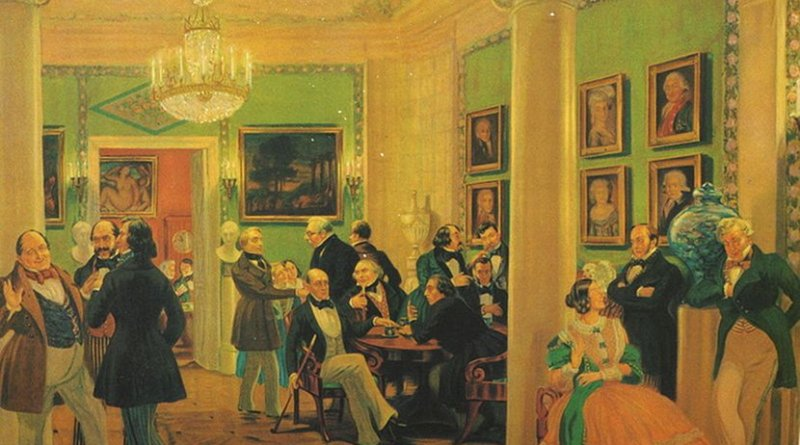 In Moscow living room by B.Kustodiev. Source: Wikipedia Commons.