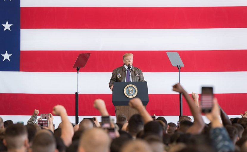 President Donald J. Trump delivers remarks at Yokota Air Base   November 5, 2017 (Official White House Photo by Andrea Hanks)