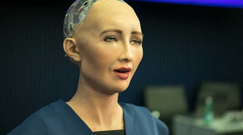 Sophia is a humanoid robot developed by Hong Kong-based company Hanson Robotics. Photo by ITU Pictures, Wikipedia Commons.