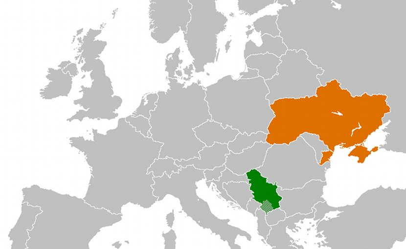Locations of Serbia (green) and Ukraine. Source: Wikipedia Commons.