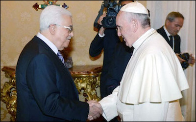 Pope Francis (right) and PA president Mahmoud Abbas at the Vatican, May 2015. The Comprehensive Agreement between the Palestinian Authority and the Vatican was a major political boon for the PA. The agreement included criticism of Israel's actions in Jerusalem and the West Bank.