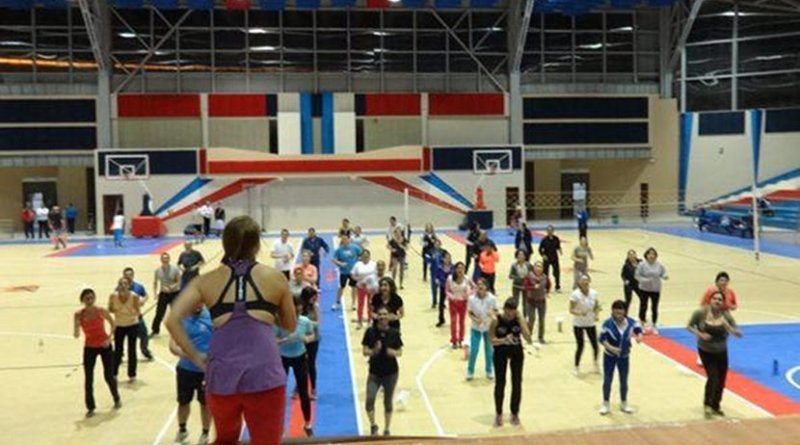 One of the Zumba sessions the researchers carried out during 5 weeks for the university staff. Credit University of Granada