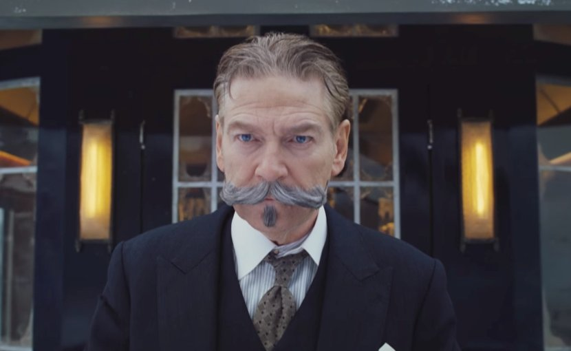 "Kenneth Branagh as Poirot in ""Murder on the Orient Express."""