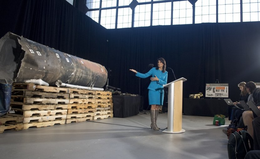 U.S. Ambassador to the United Nations Nikki Haley speaks about evidence of Iran's destabilizing activities in the Middle East and Iran's effort to cover up continued violations of UN resolutions at a press conference at Joint Base Anacostia-Boling Dec. 14, 2017. DoD photo by EJ Hersom