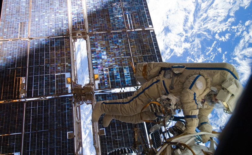 Cosmonaut Sergey Volkov works outside the International Space Station on August 3, 2011. Photo Credit: NASA, Wikipedia Commons.