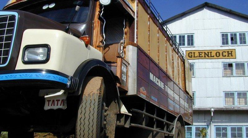 Truck outside Sri Lanka tea factory.