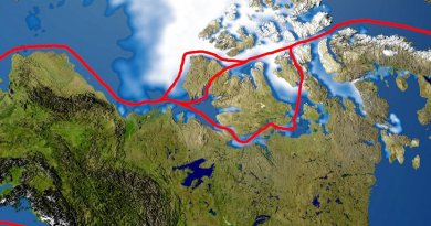 The Northwest Passage and its approach lanes, based upon a NASA image. Source: Wikimedia Commons.
