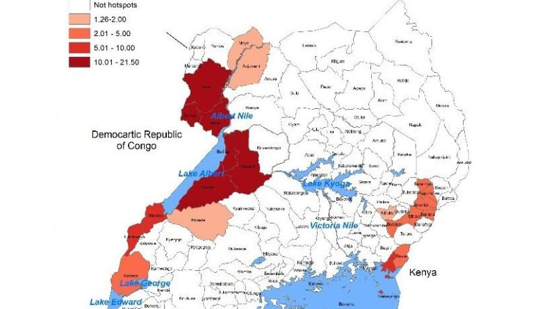 These are high risk districts (hotspots) for cholera in Uganda, 2011-2016. Credit Mohammad Ali, 18 Nov 2017