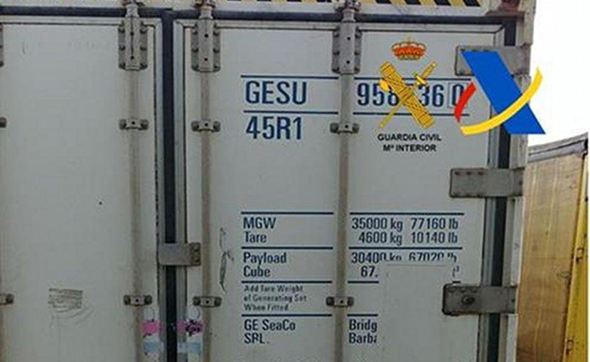 Container seized in Spain with a total of 5,883 kilograms of cocaine being found in the Port of Algeciras. Photo Credit: Ministerio de Hacienda y Función Pública