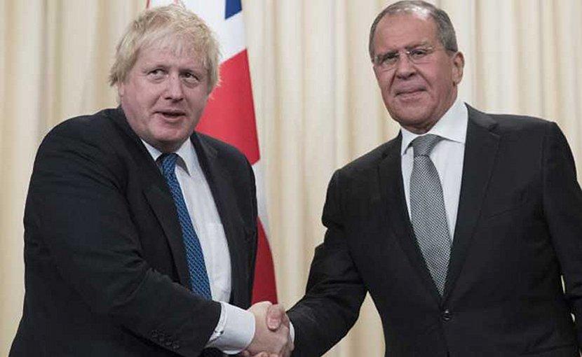 UK's Boris Johnson and Russia's Sergey Lavrov.