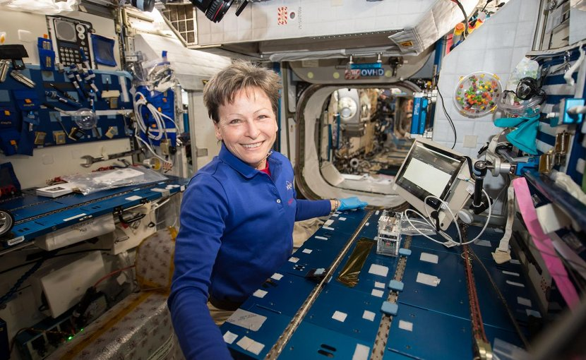 NASA astronaut Peggy Whitson performed the Genes in Space-3 investigation aboard the space station using the miniPCR and MinION, developed for previously flown investigations. Credit NASA