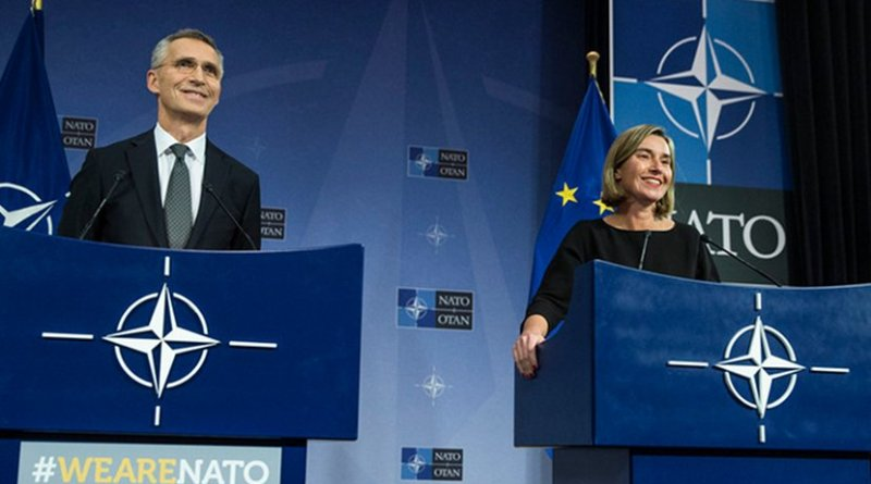 NATO Secretary General Jens Stoltenberg and EU High Representative/Vice President Federica Mogherini. Photo Credit: NATO