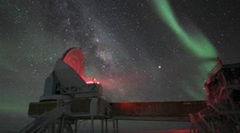 The Aurora Australis, or Southern Lights, over the South Pole Telescope at NSF's Amundsen-Scott South Pole Station. Credit Dr. Keith Vanderlinde, NSF