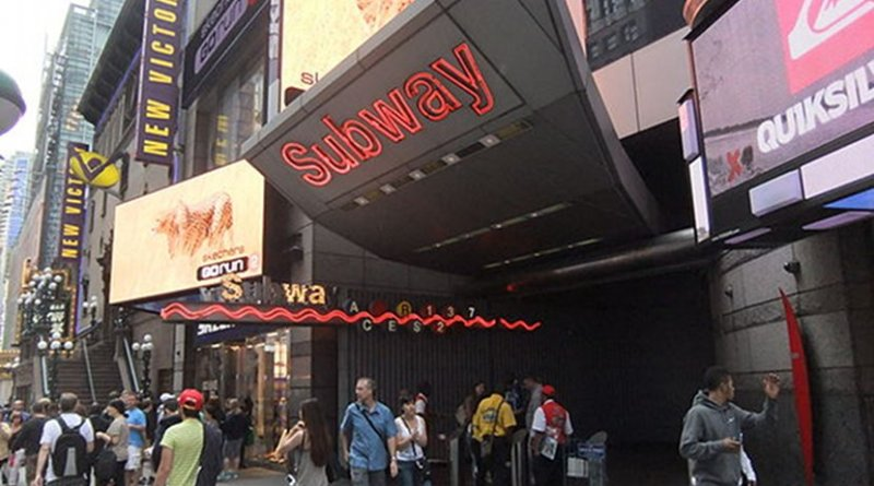 Entrance to the station at 42nd Street & 7th Avenue in New York City. File photo by Harrison Leong, Wikipedia Commons.