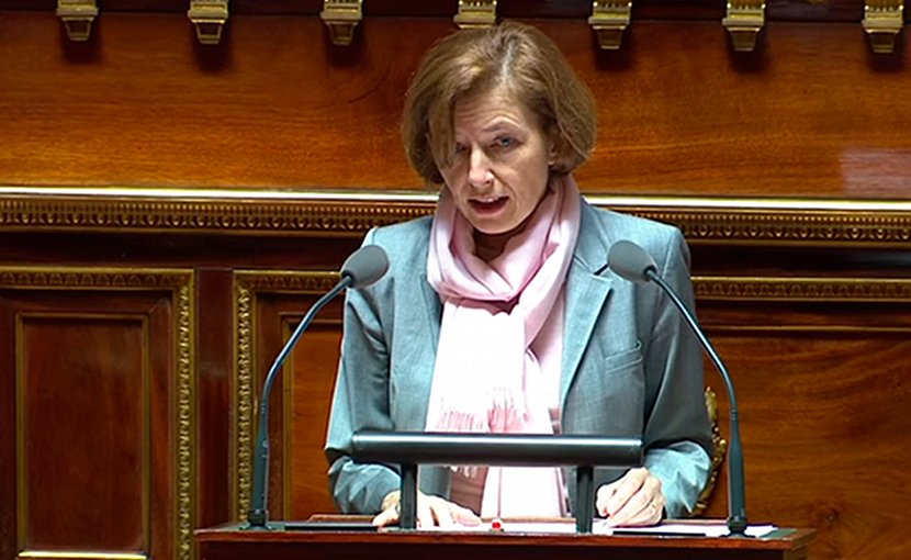 Florence Parly, Minister of Defence of France, debates the Strategic Review of French National Defence and Security 2017 at the French Senate. Photo: Public Sénat.
