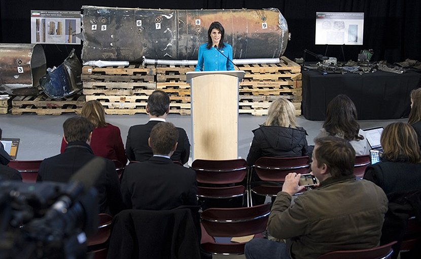 U.S. Ambassador to the United Nations Nikki Haley discusses evidence of Iran's destabilizing activities in the Middle East and Iran's effort to cover up continued violations of U.N. resolutions during a news conference at Joint Base Anacostia-Boling in Washington, D.C., Dec. 14, 2017. DoD photo by EJ Hersom