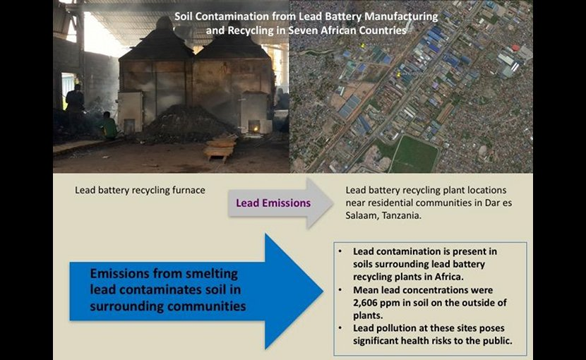 Lead battery recycling plants are often located near schools and residential communities such as these two plants shown in Dar es Salaam, Tanzania. Credit Occupational Knowledge International