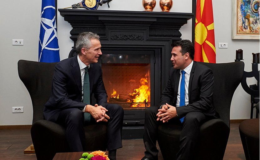 NATO Secretary General Jens Stoltenberg meets with Macedonia's Prime Minister Zoran Zaev. Photo Credit: NATO