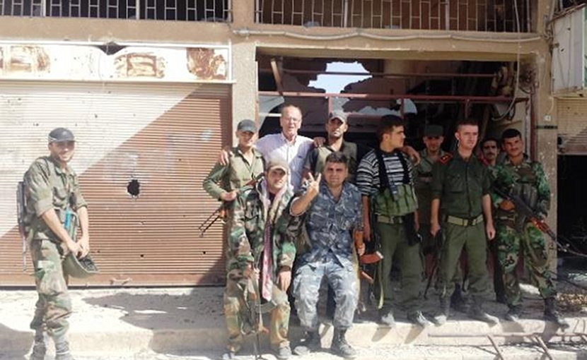 "2018 will likely present an intensification of the Syrian Civil War with rebels such as the gentleman shown above with the author, and scores of thousands more, vowing not to give up the fight with the foreign proxies until their country is ""liberated."" Photo courtesy of Franklin Lamb."