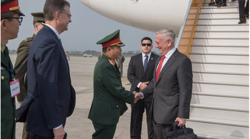 Defense Secretary James N. Mattis arrives in Hanoi, Vietnam, Jan. 24, 2018. DoD photo by Army Sgt. Amber I. Smith