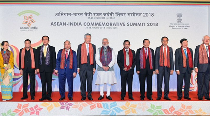 India's Prime Minister, Shri Narendra Modi with the ASEAN Heads of State/Governments and ASEAN Secretary General, at the ASEAN India Commemorative Summit, in New Delhi on January 25, 2018. Photo Credit: India PM Office.