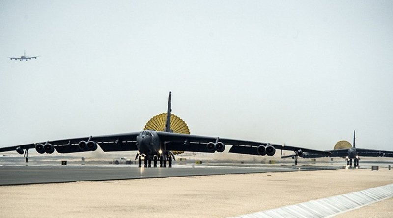 U.S. Air Force B-52 Stratofortress aircraft from Barksdale Air Force Base, Louisiana, arrive at Al Udeid Air Base, Qatar. Credit: U.S. Air Force