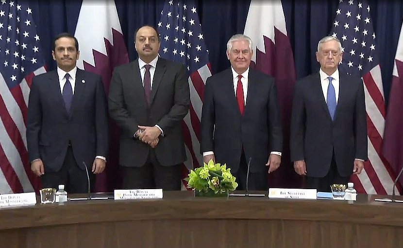 US Secretary of State Rex W. Tillerson, US Secretary of Defense James Mattis, Qatari Foreign Minister Sheikh Mohammed bin Abdulrahman al-Thani, and Qatari Defense Minister Khalid bin Muhammad al-Atiyah. Photo Credit: US State Department video screenshot.