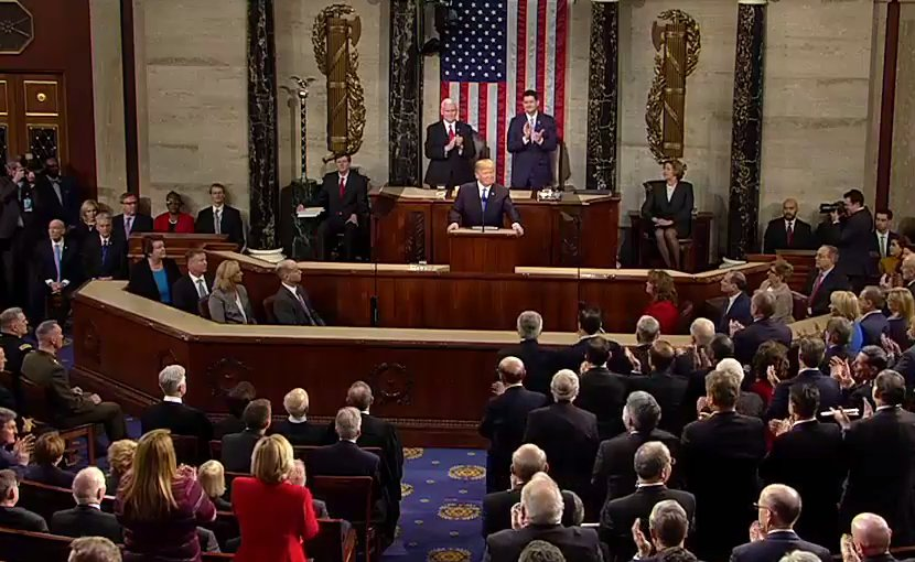 US President Donald Trump delivers 2018 State of the Union speech. Photo Credit: White House video screenshot.
