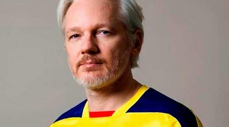Julian Assange in photo uploaded to his Twitter account wearing Ecuadoran colors.
