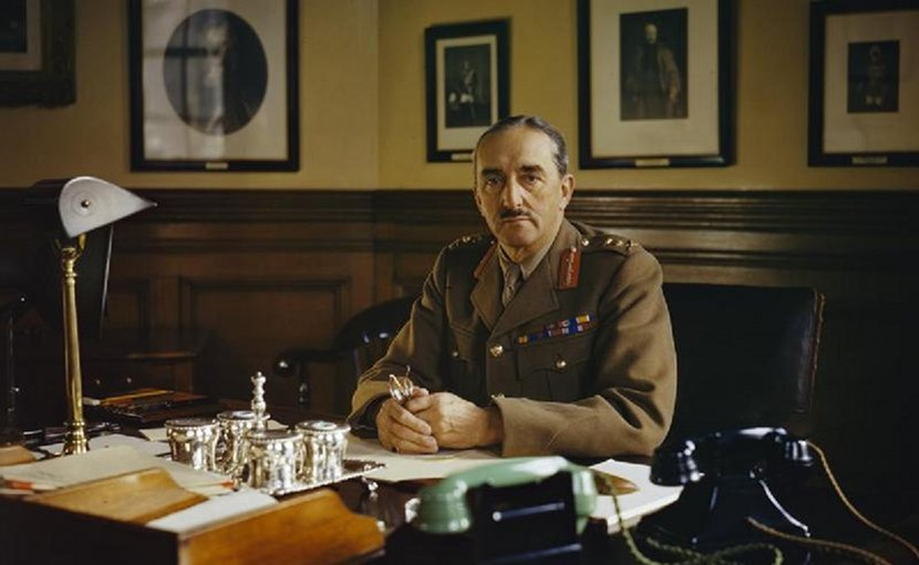 The Chief of the Imperial General Staff, General Sir Alan Brooke, at his desk at the War Office, 1942. War Office official photographer, Wikimedia Commons.
