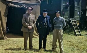Brooke (on the left) and Churchill visit Bernard Montgomery's mobile headquarters in Normandy, France, 12 June 1944. Photo by Horton (Capt), War Office official photographer, Wikipedia Commons.