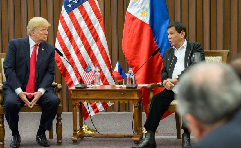 US President Donald J. Trump participates in a bilateral meeting with President Rodrigo Duterte at the Philippine International Convention Center, Monday, November 13, 2017, in Manila, Philippines. (Official White House Photo by Shealah Craighead)