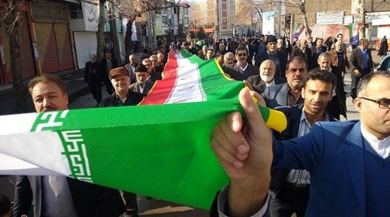 Participants in Iran's 39th anniversary of victory of the Islamic Revolution. Photo Credit: Tasnim News Agency.