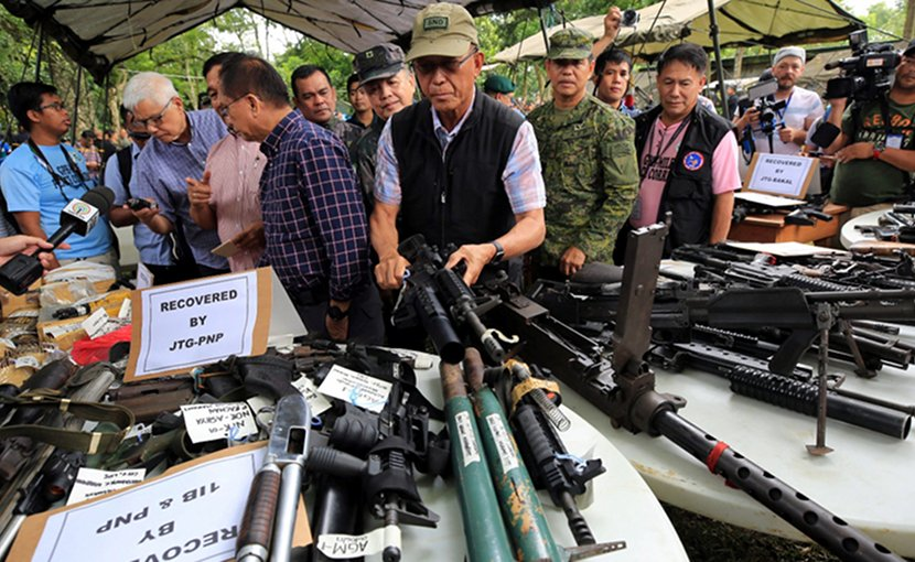 Confiscated weapons from the Marawi siege, public domain Philippines Presidential Communications Operation Office