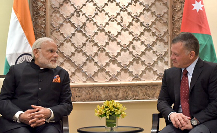 India's Prime Minister, Shri Narendra Modi with the King of Jordan His Majesty Abdullah II Bin Al-Hussein, at Amman, Jordan. Photo Credit: India PM Office.