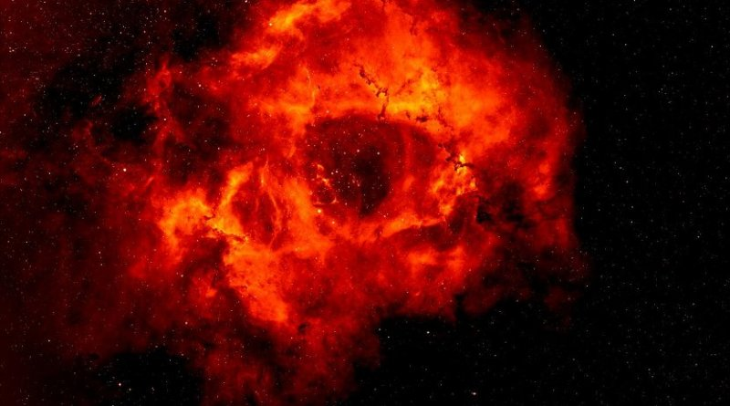 Rosette Nebula image is based on data obtained as part of the INT Photometric H-Alpha Survey of the Northern Galactic Plane, prepared by Nick Wright, Keele University, on behalf of the IPHAS Collaboration Credit Nick Wright, Keele University