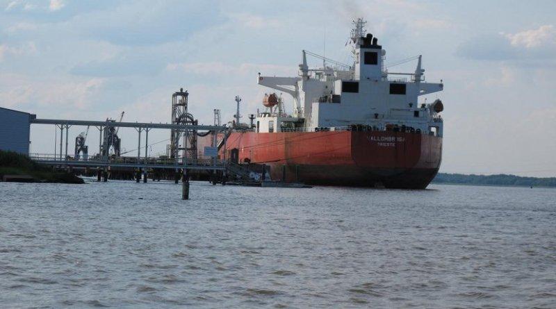 This is an oil tanker near Delaware City, DE. Credit University of Delaware
