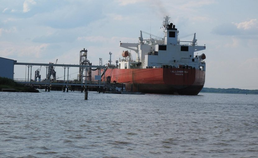 This is an oil tanker near Delaware City, DE. Credit University of Delaware