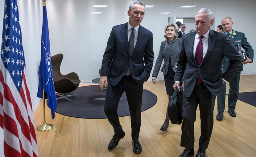 NATO Secretary General Jens Stoltenberg, left, and Defense Secretary James N. Mattis speak following a bilateral meeting at NATO headquarters in Brussels, Feb. 14, 2018. NATO photo