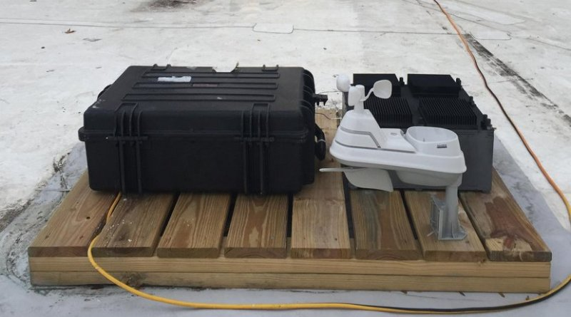 The team's test device, which has been deployed on the roof of an MIT building for several months, was used to prove the principle behind their new energy-harvesting concept. The test device is the black box at right, behind a weather-monitoring system (white) and a set of test equipment to monitor the device's performance (larger black case at left). Credit Justin Raymond