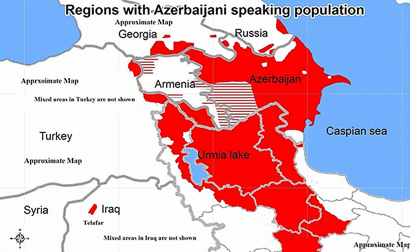 Regions with Azerbaijani speaking population. Source: Wikimedia Commons.