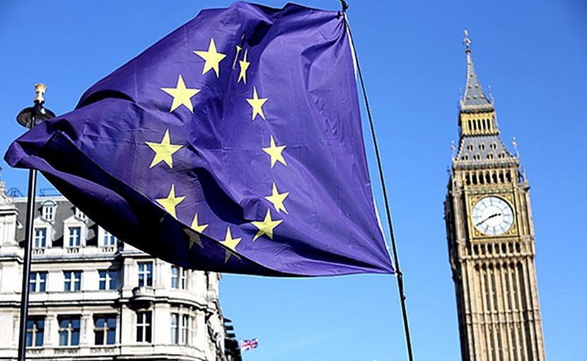 European Union flag in front of Big Ben, London, United Kingdom. Photo by Ilovetheeu, Wikimedia Commons.