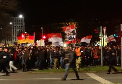 Demonstration of German radical right group Pegida. Photo by Kalispera Dell, Wikimedia Commons.