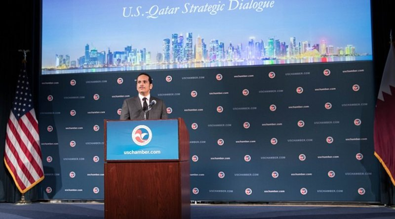 Qatar's Deputy Prime Minister and Foreign Minister Sheikh Mohammed bin Abdulrahman Al-Thani speaking at the US Chamber of Commerce. Photo Credit: Qatar Foreign Ministry.