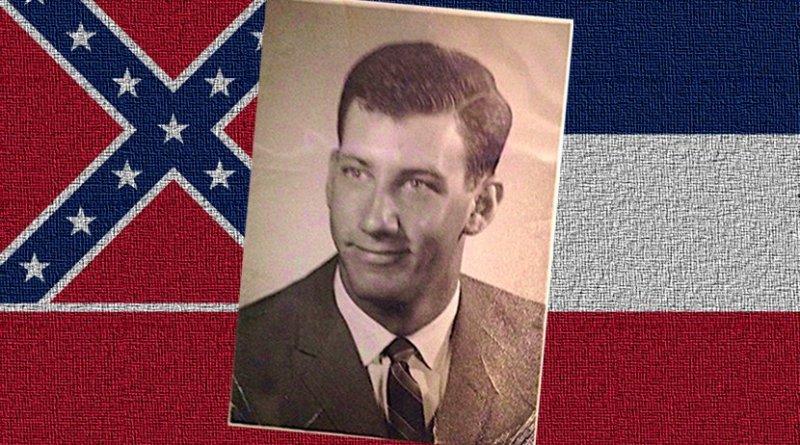 Civil rights activist Paul Morganstern and Mississippi flag.