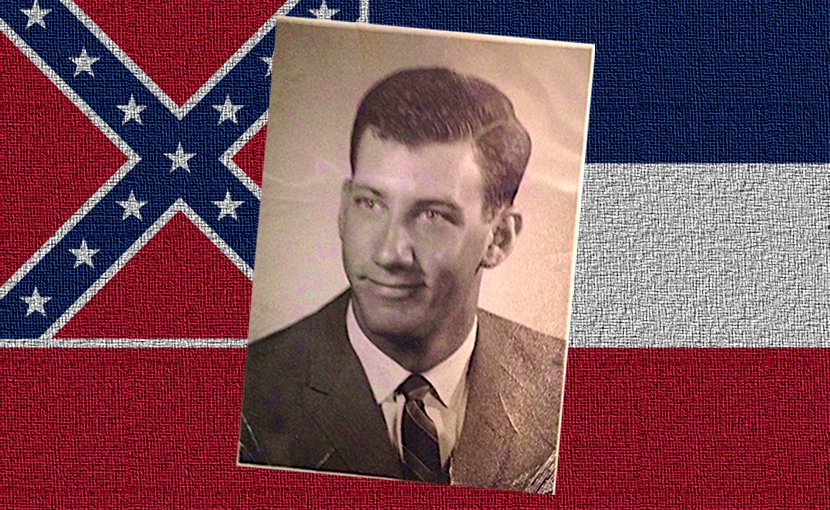 Civil rights activist Paul Morganstern and Mississippi flag.
